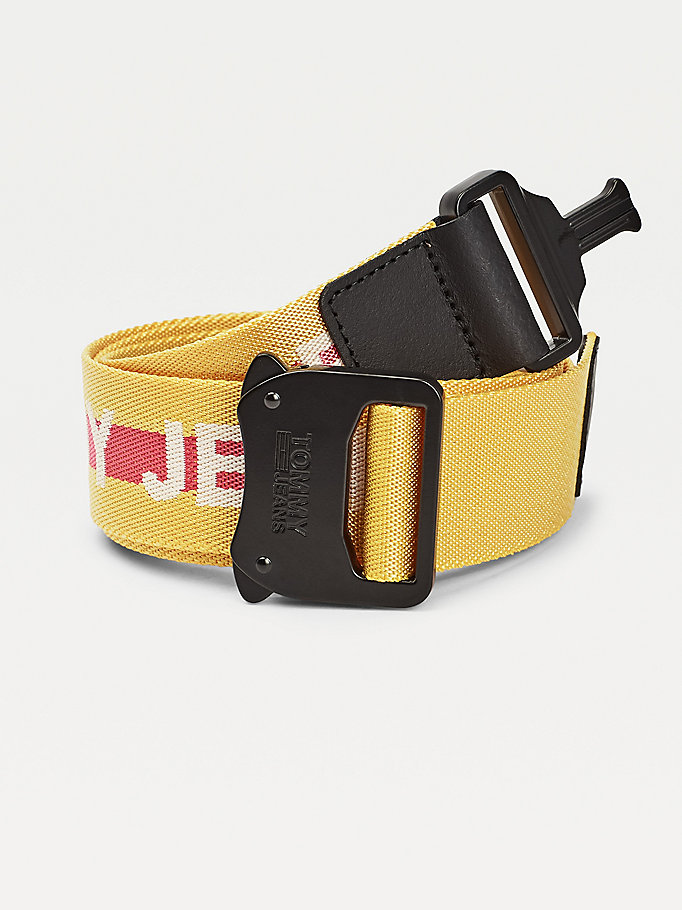yellow repeat logo cobra clip webbing belt for women tommy jeans