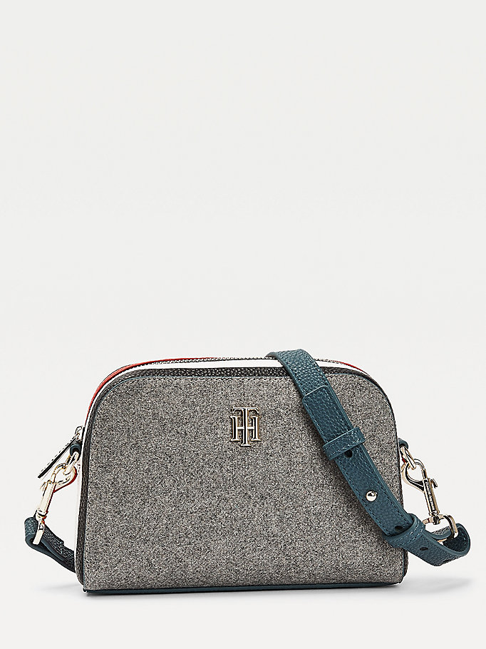 grey th essence crossover melton wool bag for women tommy hilfiger