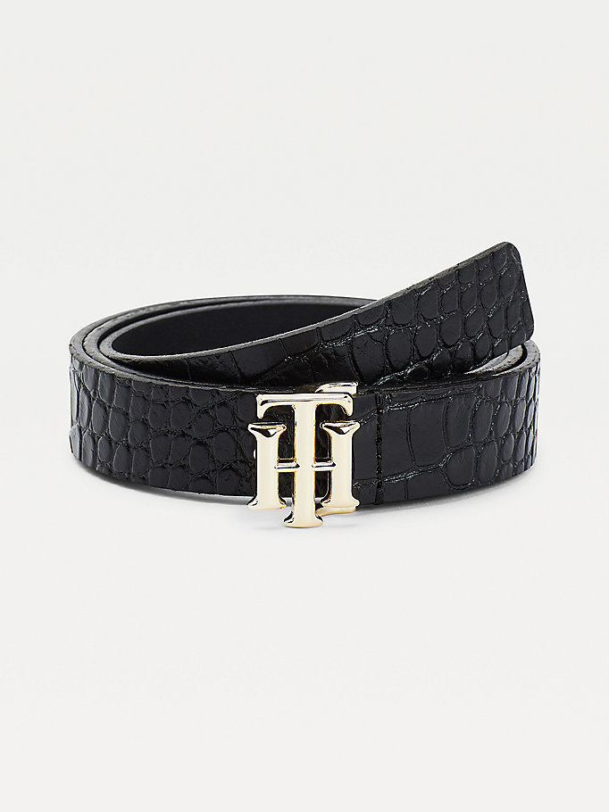 black monogram croco-effect leather belt for women tommy hilfiger
