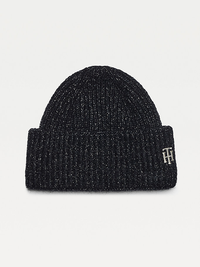 blue sparkle knit monogram embroidery beanie for women tommy hilfiger