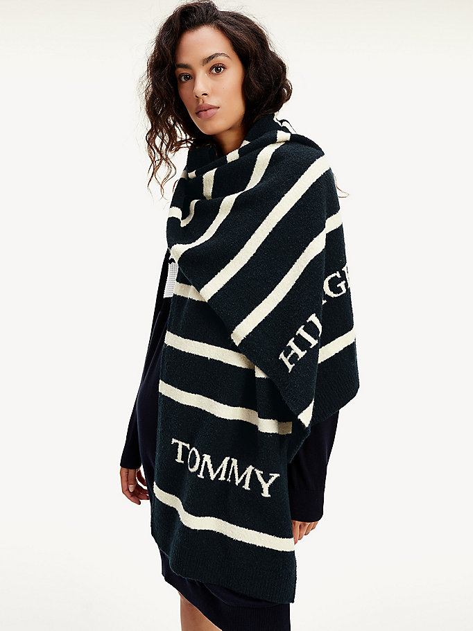 blue fluffy knit stripe scarf for women tommy hilfiger