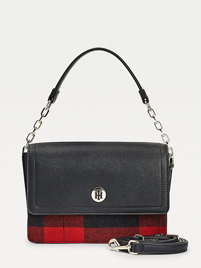 blue tartan check shoulder bag for women tommy hilfiger