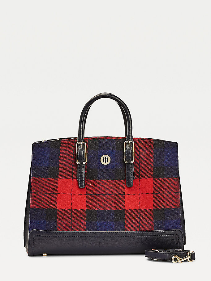 blue tartan check work bag for women tommy hilfiger