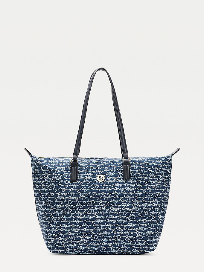 blue script print tote bag for women tommy hilfiger