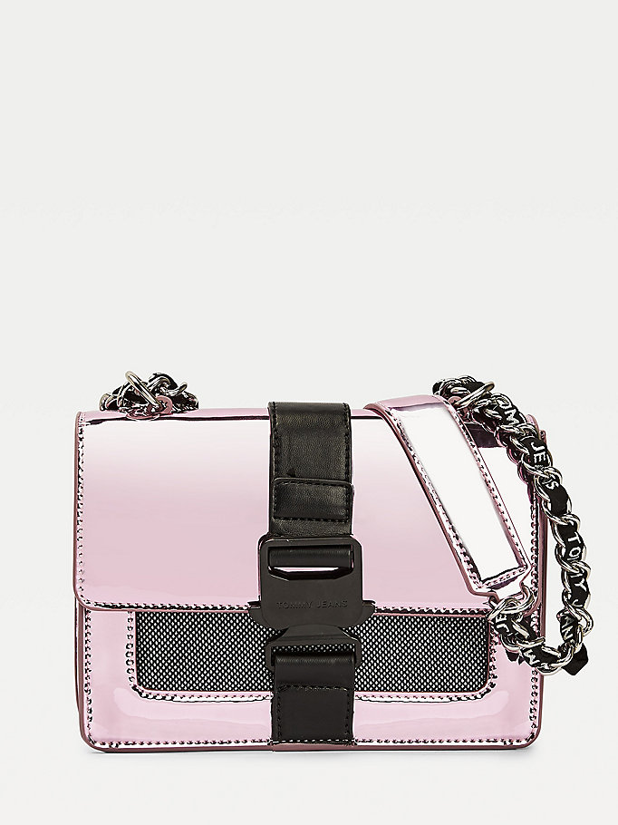 pink tommy jeans item metallic mesh crossover bag for women tommy jeans