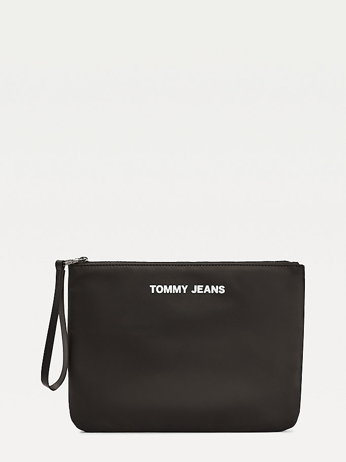 black logo zip pouch for women tommy jeans