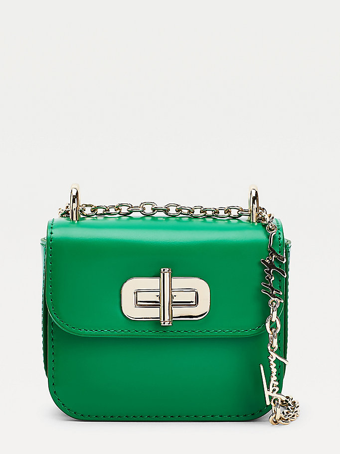 green micro turn lock leather logo crossover bag for women tommy hilfiger