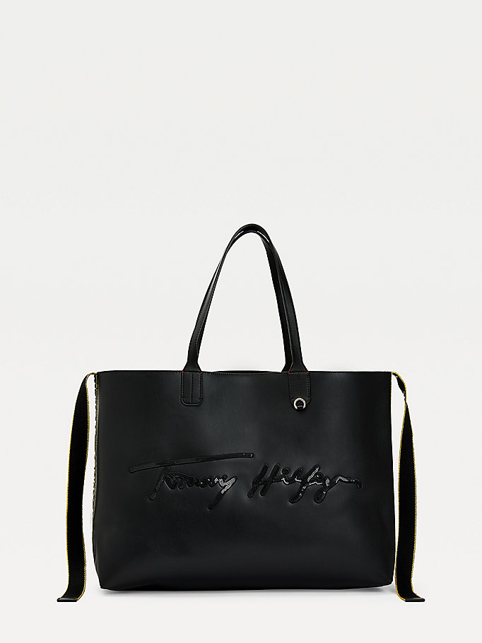 black iconic signature logo tote for women tommy hilfiger