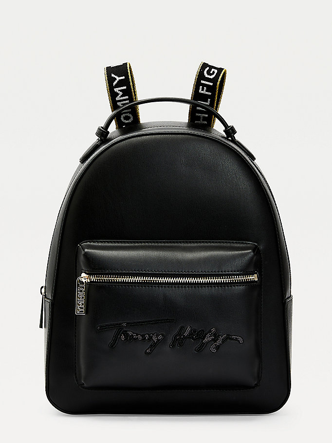 black iconic signature logo backpack for women tommy hilfiger