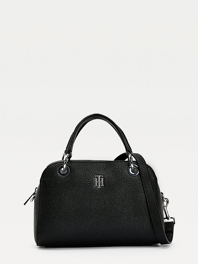 black th essence medium satchel for women tommy hilfiger