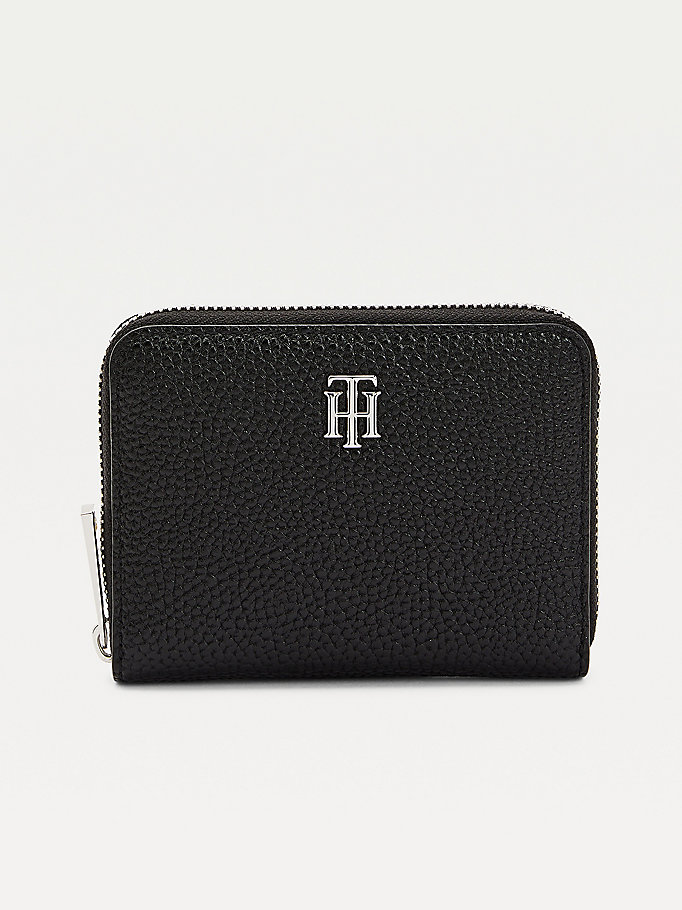 black th essence small zip-around wallet for women tommy hilfiger