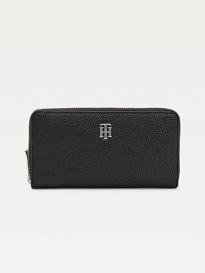 black th essence large zip-around wallet for women tommy hilfiger