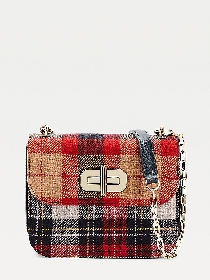 grey turnlock cashmere crossover bag for women tommy hilfiger
