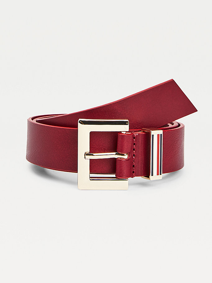 purple square buckle leather belt for women tommy hilfiger