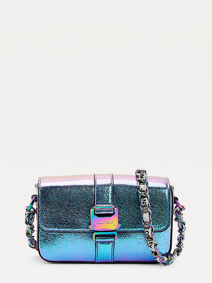 purple tommy jeans iridescent crossover bag for women tommy jeans