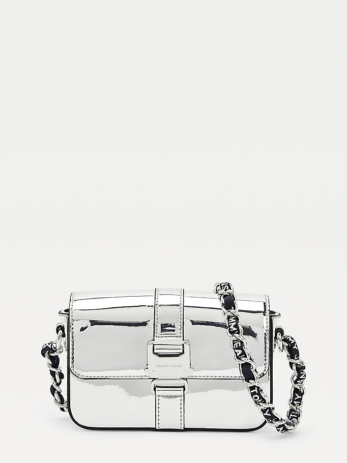 grey tommy jeans metallic crossover bag for women tommy jeans