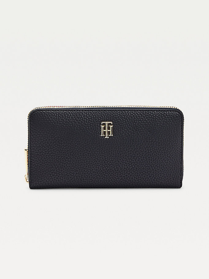 blue th essence large zip-around signature wallet for women tommy hilfiger