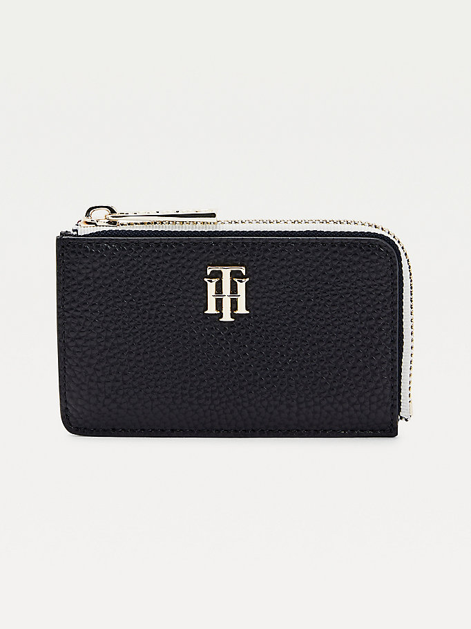 blue th essence monogram wallet for women tommy hilfiger