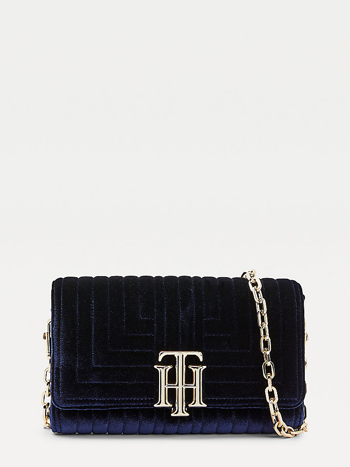 blue th lock velvet small crossover bag for women tommy hilfiger