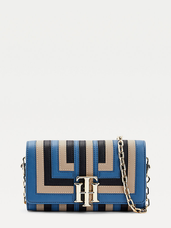 blue th lock striped small crossover bag for women tommy hilfiger