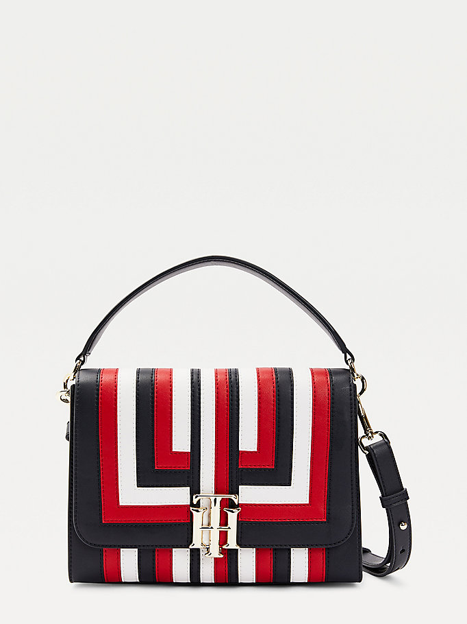 blue th lock multicolour stripe satchel for women tommy hilfiger