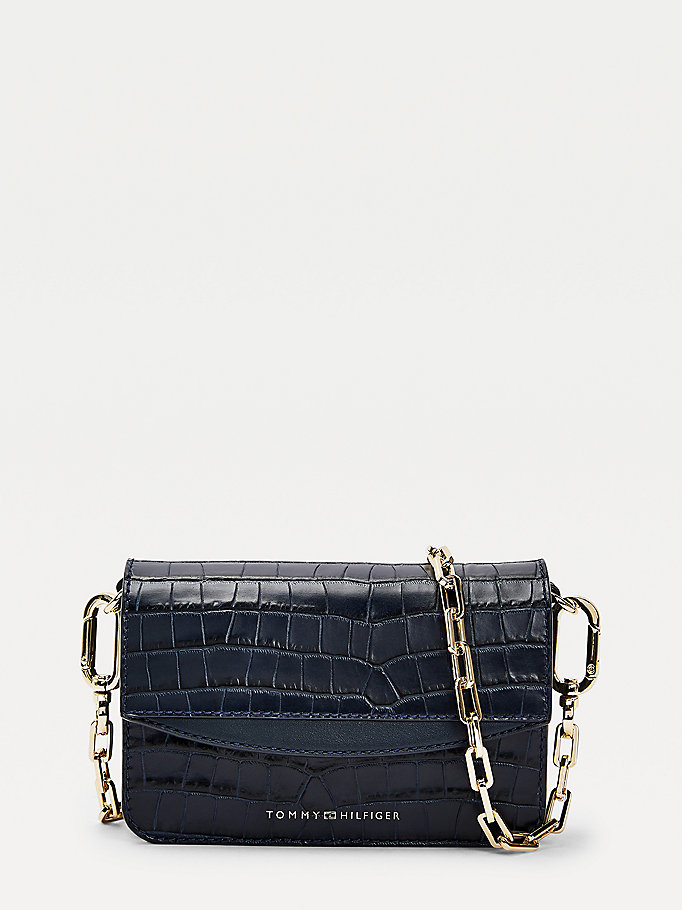 blue luxe leather croco small crossover bag for women tommy hilfiger