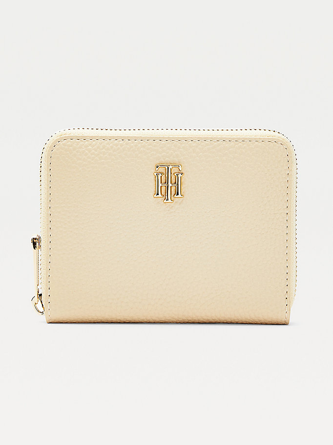 beige th essence monogram medium zip-around wallet for women tommy hilfiger