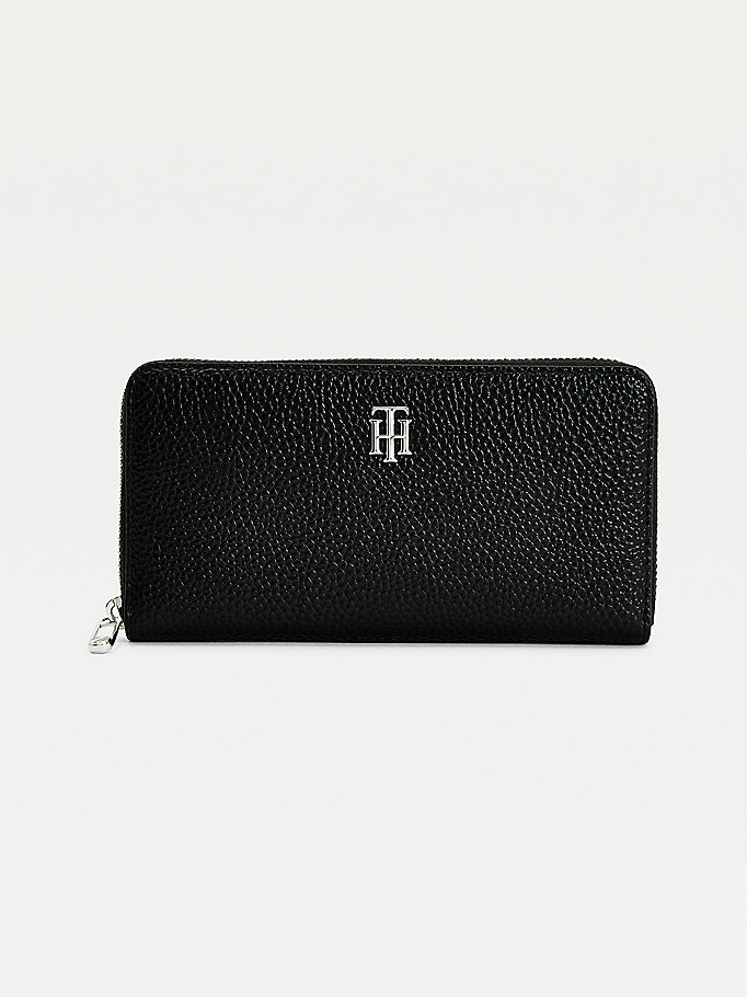 black th essence monogram large zip-around wallet for women tommy hilfiger