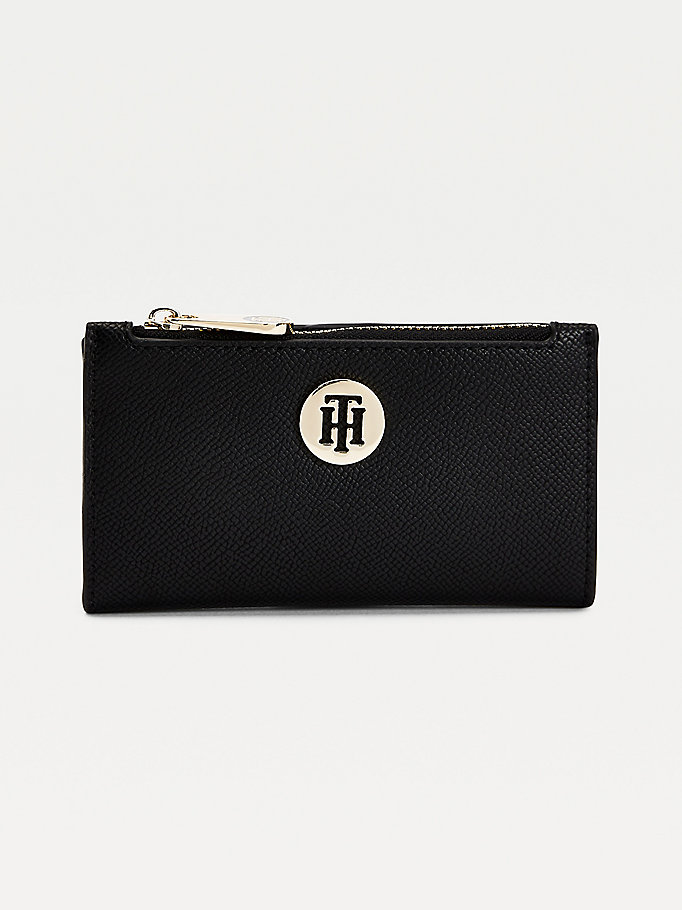 black monogram plaque slim wallet for women tommy hilfiger