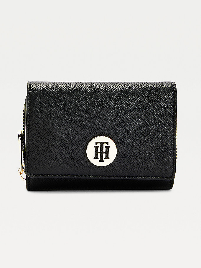 black monogram plaque medium flap wallet for women tommy hilfiger