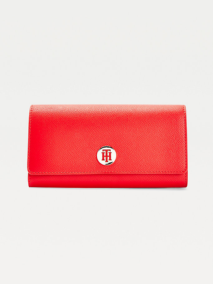 orange monogram plaque large flap wallet for women tommy hilfiger