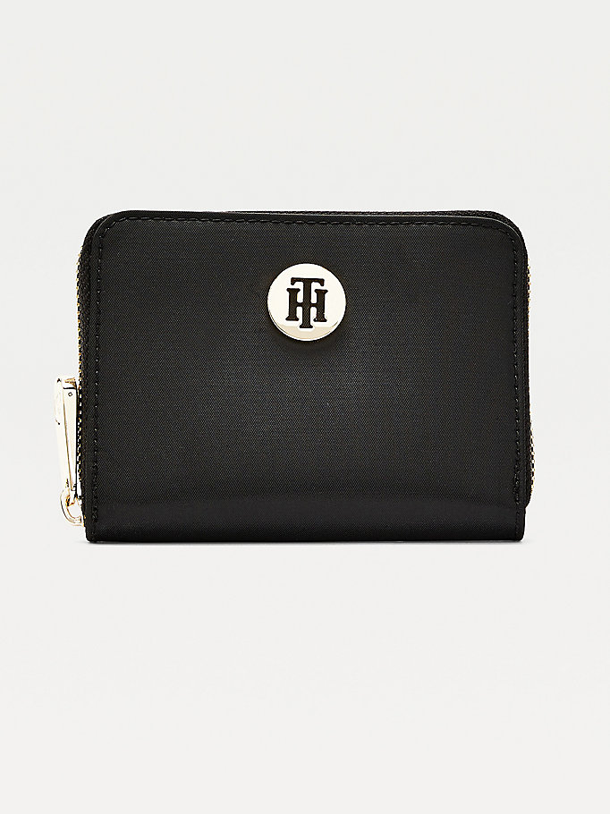 black monogram plaque medium zip-around wallet for women tommy hilfiger