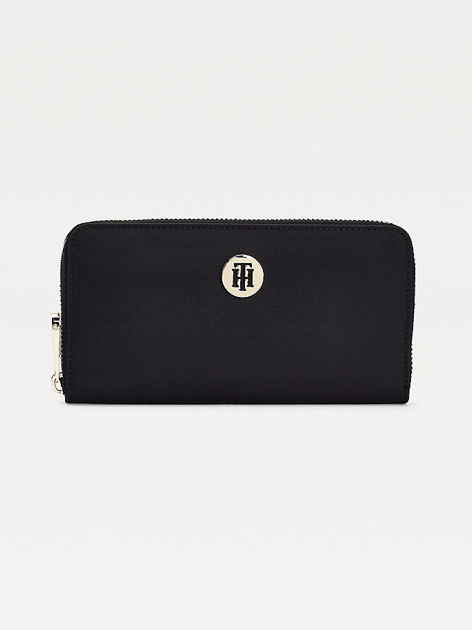 black signature detail monogram large zip-around wallet for women tommy hilfiger