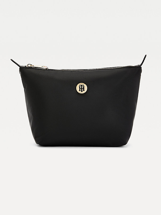 black monogram plaque washbag for women tommy hilfiger