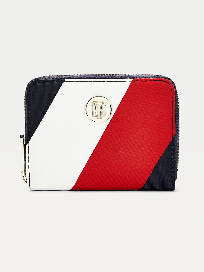 blue medium monogram plaque zip-around wallet for women tommy hilfiger