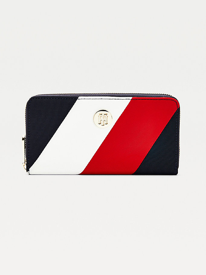 blue large zip-around signature wallet for women tommy hilfiger