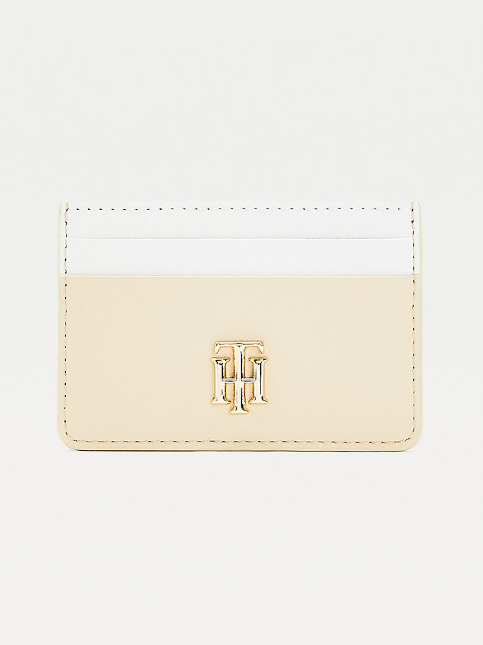 beige tonal card holder for women tommy hilfiger