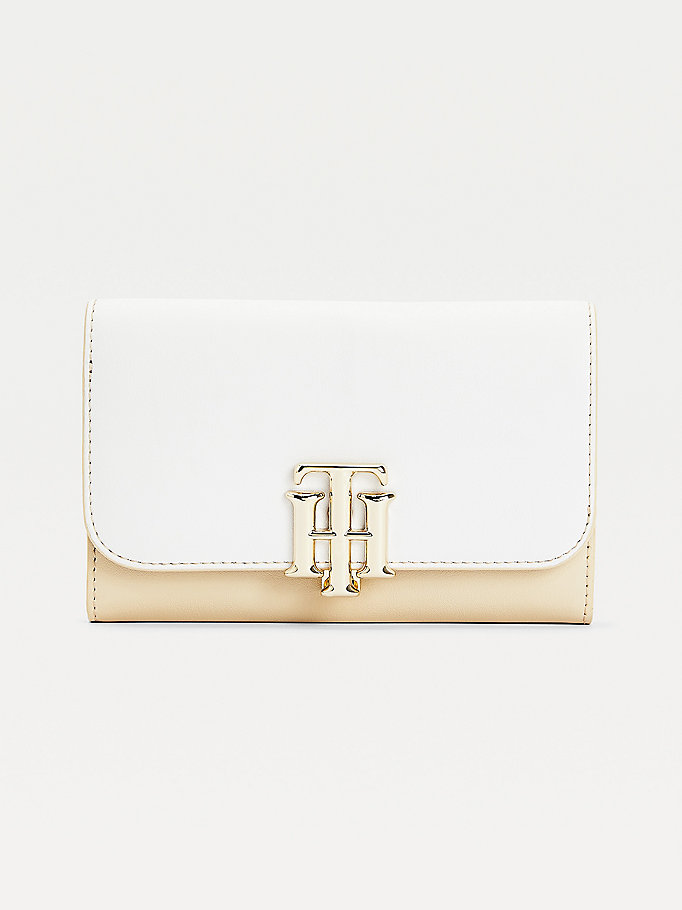 beige tonal medium flap wallet for women tommy hilfiger