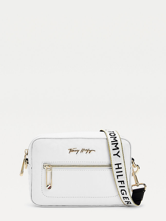 white iconic monogram signature logo camera bag for women tommy hilfiger