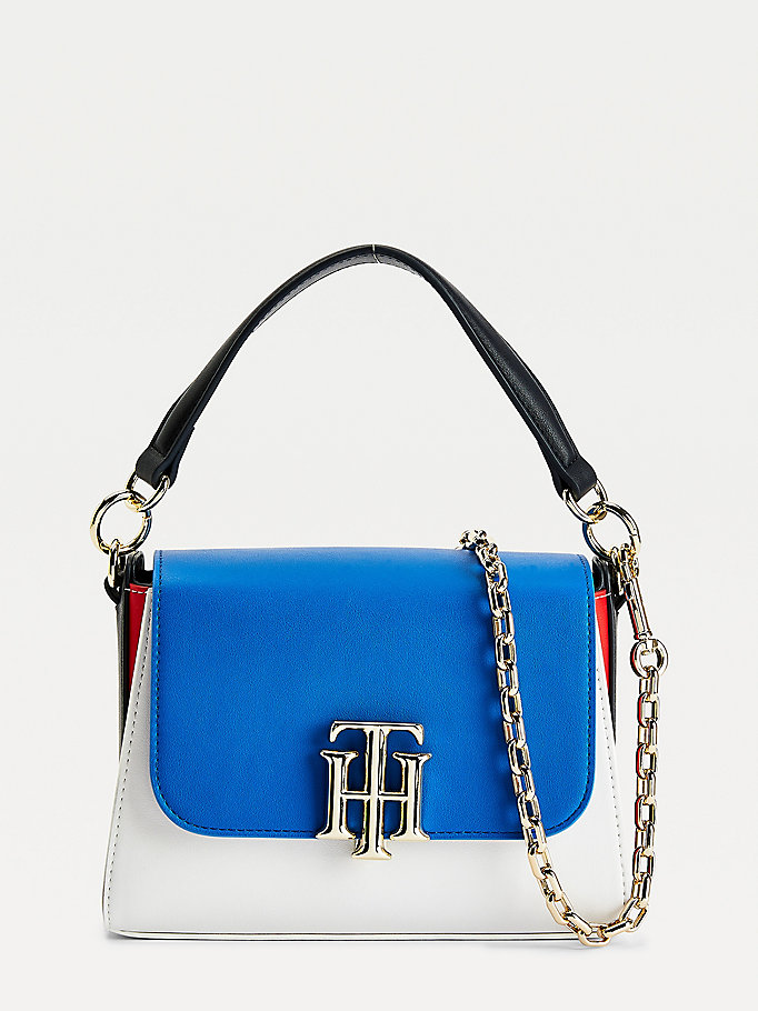 blue tonal small satchel for women tommy hilfiger