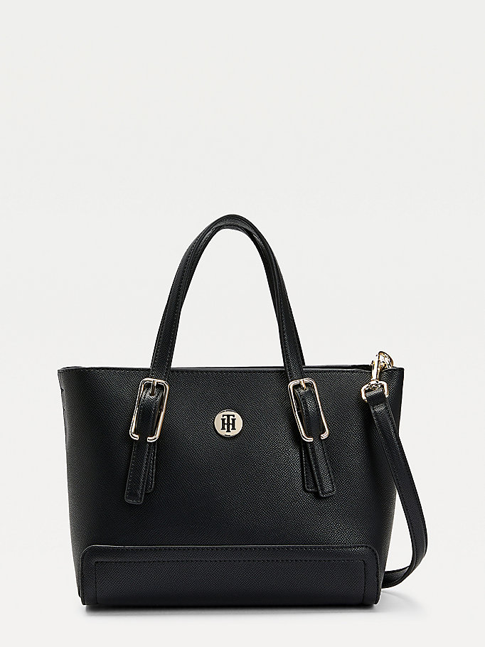 black monogram small tote bag for women tommy hilfiger