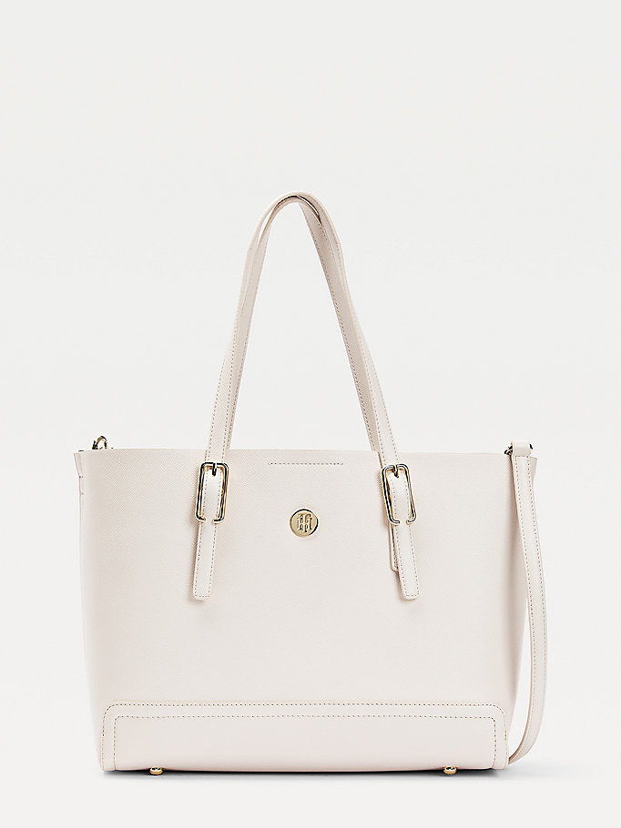 beige monogram medium tote bag for women tommy hilfiger