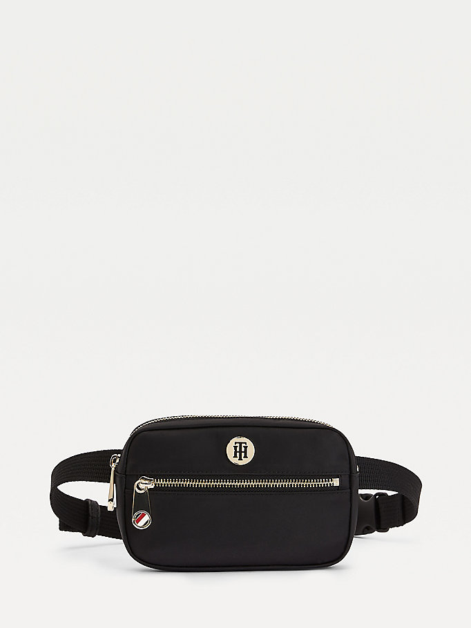 black monogram plaque bumbag for women tommy hilfiger