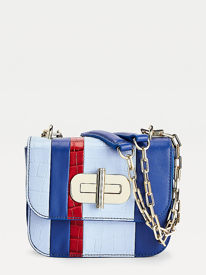 blue turnlock leather stripe small crossover bag for women tommy hilfiger