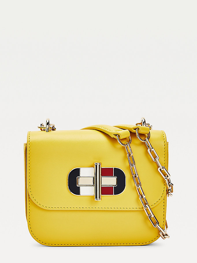 yellow turnlock small leather crossover bag for women tommy hilfiger
