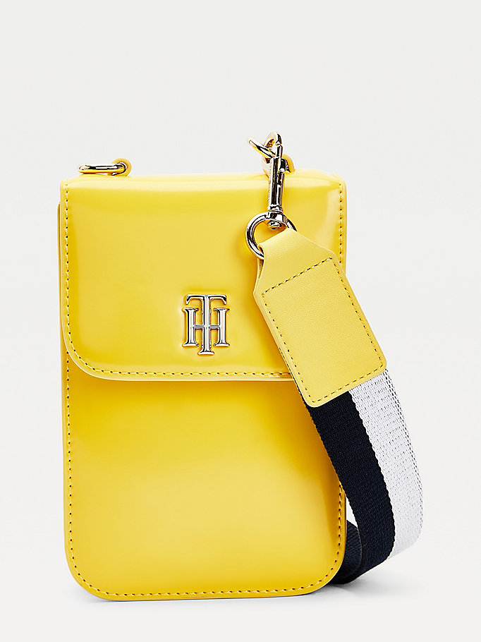 borsa a tracolla th staple piccola verniciata giallo da women tommy hilfiger