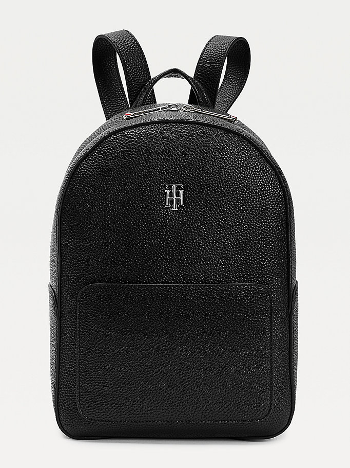 black th essence pebble grain backpack for women tommy hilfiger