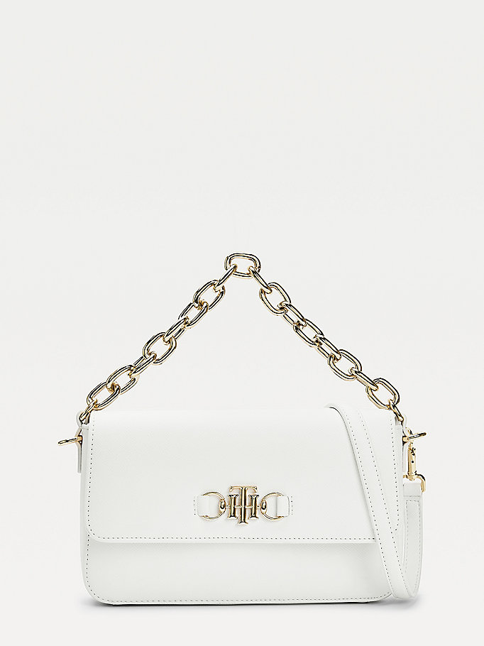 white chain flap crossover bag for women tommy hilfiger