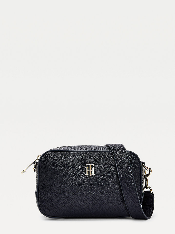 blue th essence monogram signature crossover bag for women tommy hilfiger