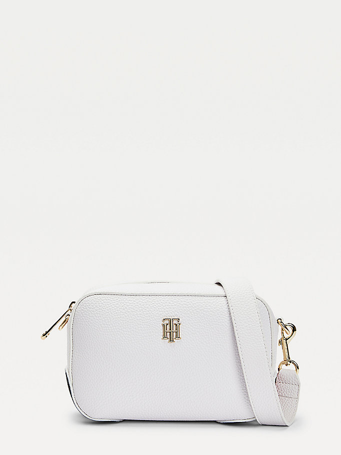 white th essence monogram signature crossover bag for women tommy hilfiger